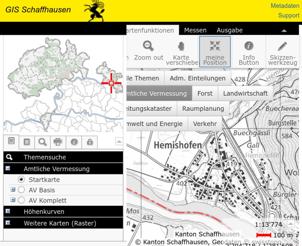Webscreenshot des GIS für Hemishofen